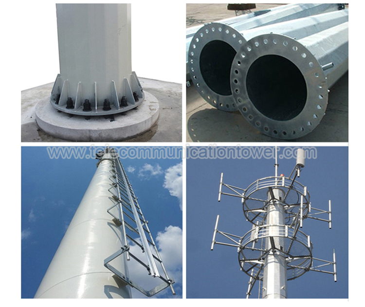 30 Meter Monopole Painting Coating Wifi Tower