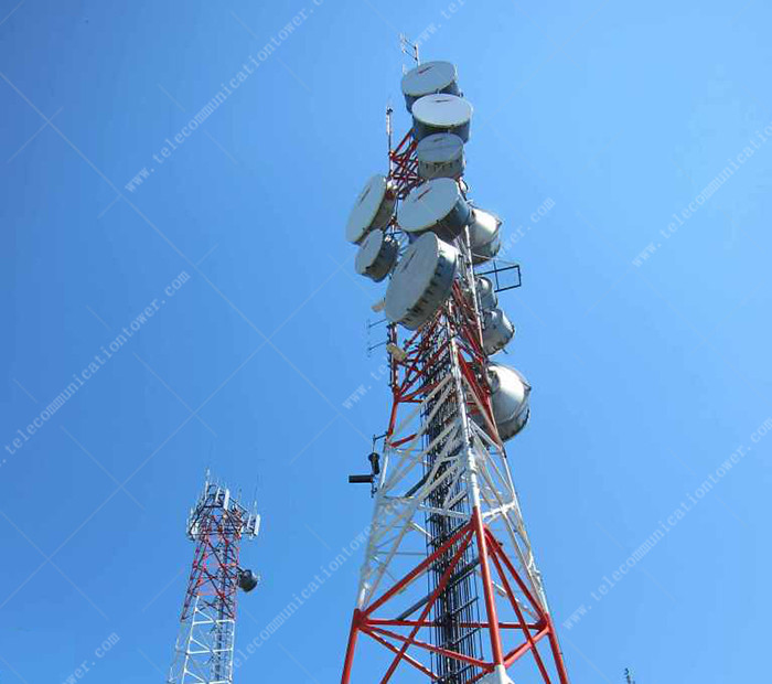 GSM Telecom 3 Legs Tubular Steel Radio Antenna Tower