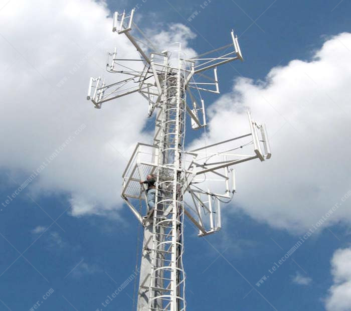 Heavy Duty Wifi Telecommunication Steel Monopole Antenna Tower